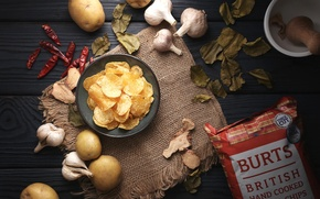 Картинка чеснок, чипсы, картофель