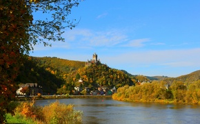 Картинка город, река, фото, Германия, Cochem Burg
