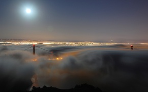 Картинка bridge, сша, america, город, огни, вечер, дымка, ночь, америка, калифорния, мост, golden gate, сан-франциско, туман, ...