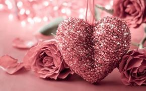 Картинка сердце, роза, love, rose, heart, pink, romantic, Valentine's Day