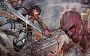 Картинка оружие, стена, дым, битва, военные, титан, Shingeki no Kyojin, Mikasa Ackerman, Eren Yeager, Armin Arlert, …