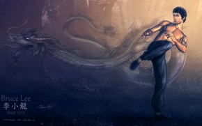 Картинка дракон, рисунок, Bruce Lee, Брюс Ли