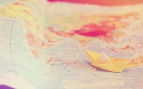 Картинка путешествия, нежность, карта, кораблик