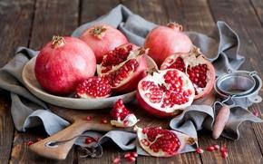 Картинка зерна, посуда, красные, фрукты, натюрморт, гранаты, Anna Verdina