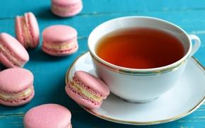 Картинка чай, напиток, пирожные, макаруны