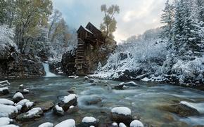 Картинка снег, река, мельница, Crystal Mill