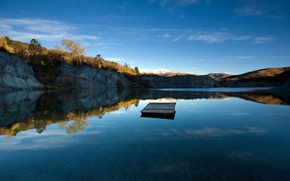 Обои Новая Зеландия, кристальная чистота, рябь на воде, Blue Lake Jetty, озеро, небо