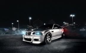 Картинка BMW, night, front, E46, silvery