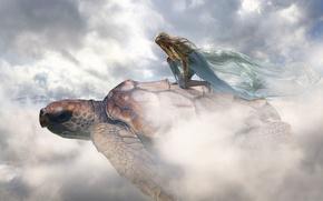 Картинка девушка, облака, черепаха