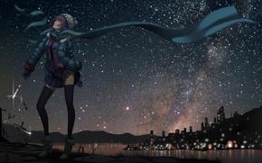Картинка холод, девушка, ночь, город, улица, art, senjougahara hitagi, bakemonogatari, ножницы, madyy, ножики