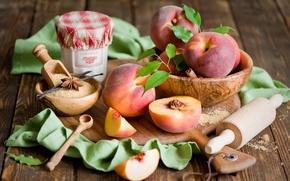 Картинка посуда, сахар, доска, фрукты, натюрморт, корица, персики, дольки, ваниль, нектарин, пряности, скалка, бадьян, анис, плошки, …