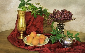 Картинка green, leaves, grapes, Still life, apricots, golden pitcher, silver bowl
