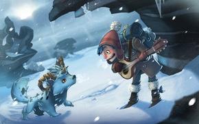 Обои снег, зима, рюкзак, шапка, вьюга, зверек, рогатый, брынчалка, сосульки, мальчик