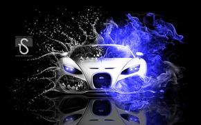 Картинка вид, неон, Bugatti
