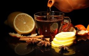 Картинка лимон, чай, чашка, корица, корки