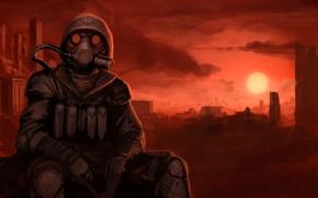Картинка закат, апокалипсис, противогаз