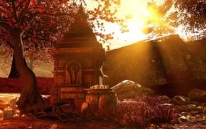 Картинка Солнце, Красный, Осень, Лучи, Листопад, Far cry 4, Шангри ла, Реликт, Реликвия, Молитвы