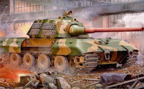 Картинка war, art, painting, german, tank, Panzerkampfwagen E-100, panzer