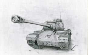 Обои карандашный рисунок, Советский танк, ИС-2, пушка