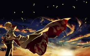 Обои наруто, тучи, hokage, хокаге, Naruto, ветер, листья, ниндзя, закат