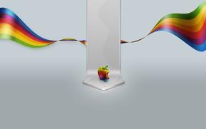 Обои минимализм, цвет, яблоко, 155, mac, apple