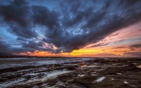 Картинка пляж, закат, вечер, Ирландия, графство Донегал