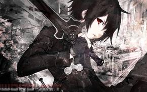 Обои взгляд, меч, черные волосы, Sword Art Online, Kirito, черный плащ