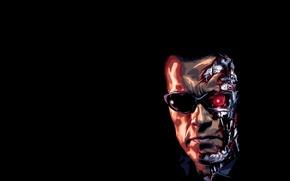 Обои Arnold, Schwarzenegger, terminator, лицо, терминатор, Арнольд, t-800, Шварценеггер, темный