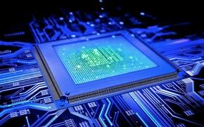 Картинка микросхема, плата, дорожки, чип