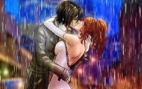 Обои ulquiorra schiffe, inoue orihime, billiefeng, арт, парень, bleach, дождь, пара, девушка, поцелуй