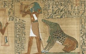 Картинка crocodile, human form, Papyrus, tool, blackspot, Egyptian symbols