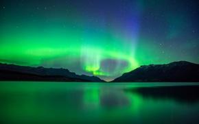 Обои звезды, горы, ночь, озеро, Канада, Альберта, сияния, Абрахам, Эйбрахам
