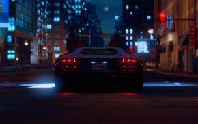 Картинка ночь, огни, здания, Lamborghini, сзади, night, The Crew