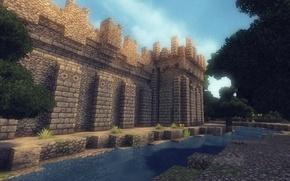Картинка лес, небо, трава, облака, деревья, стена, башня, ров, Minecraft