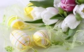 Обои цветы, праздник, яйца, тюльпаны, пасхальный
