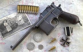 Картинка фото, пистолет, оружие, крест, железный, «Маузер», магазинный, Mauser C96