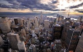 Обои облака, небоскреб, Нью-Йорк
