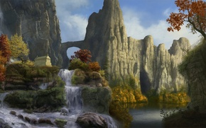 Картинка осень, деревья, пейзаж, горы, скалы, водопад, арт, арка, саркофаг