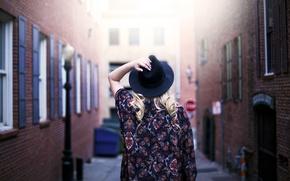 Картинка шляпа, улица, спина, девушка, локоны