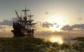 Картинка вода, солнце, корабль