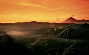 Картинка утро, Индонезия, Ява, Tengger, вулканический комплекс-кальдеры Тенгер, действующий вулкан Бромо