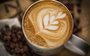 Картинка кружка, чашка, напиток, капучино, кофе, пена, зерна, узор, белая