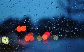 Картинка стекло, капли, свет, город, огни, дождь, настроение, вечер, боке