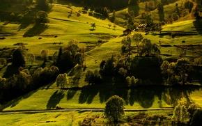 Обои поля, Германия, деревья, домики, Baden-Württemberg