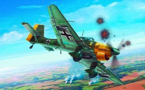 Картинка war, art, airplane, painting, aviation, ww2, Junkers Ju 87 Stuka