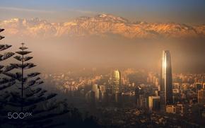 Картинка свет, горы, город, туман, дымка, Чили, Сантьяго