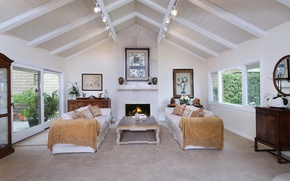 Картинка диван, интерьер, камин, особняк, Design, гостиная, Interior, Living