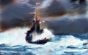 Картинка море, картина, корабль, стиль