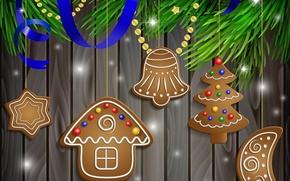 Картинка снег, украшения, шары, Новый Год, Рождество, Christmas, Xmas, cookies, decoration, Merry