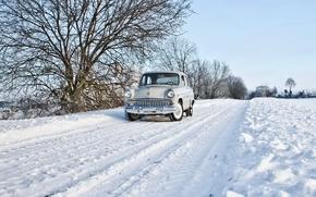 Обои зима, машина, Москвич 407, дорога